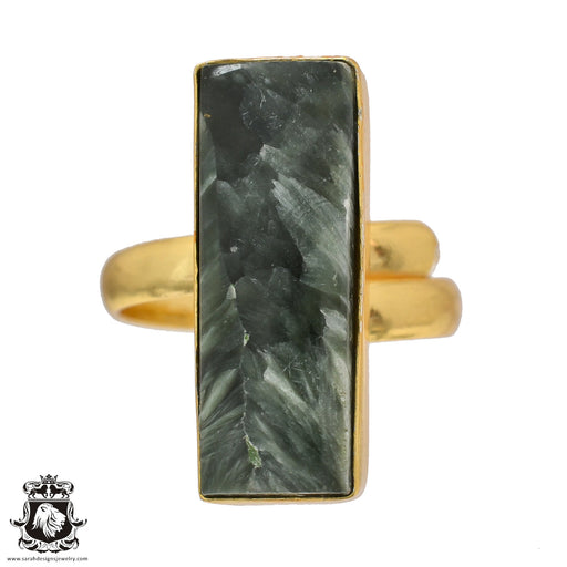 Size 10.5 - Size 12 Adjustable Seraphinite 24K Gold Plated Ring GPR512