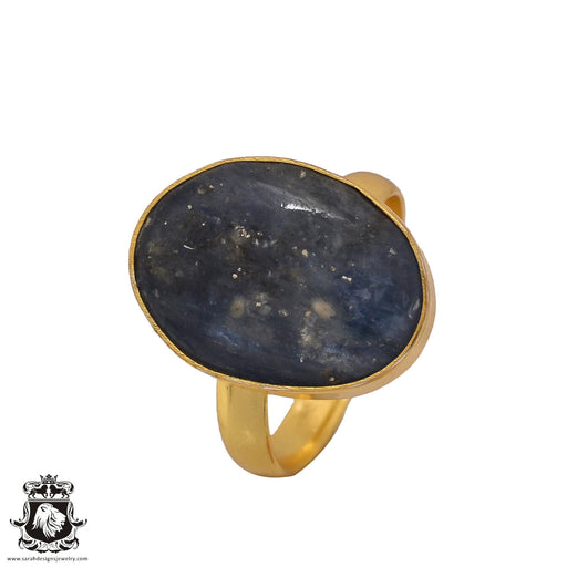 Size 10.5 - Size 12 Adjustable Kyanite 24K Gold Plated Ring GPR514