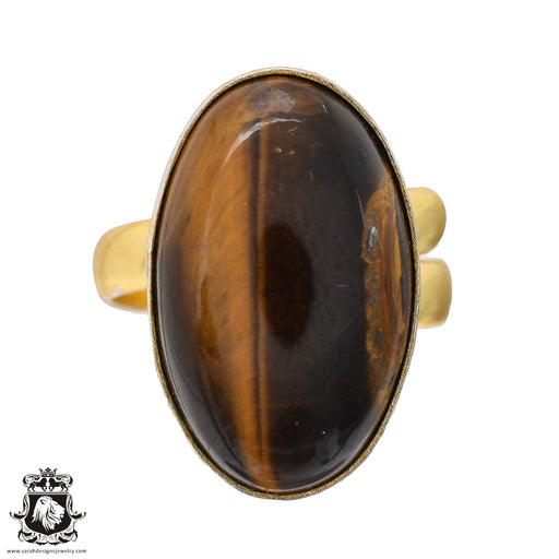 Size 9.5 - Size 11 Adjustable Tiger's Eye 24K Gold Plated Ring GPR563