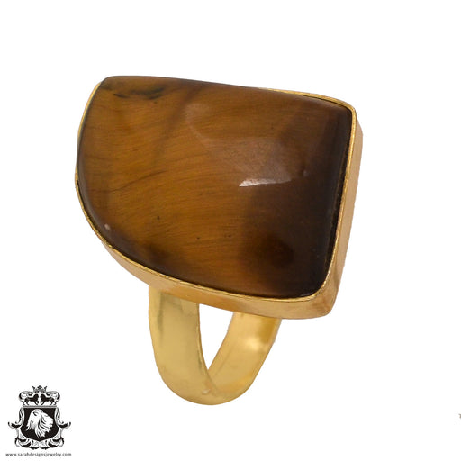 Size 9.5 - Size 11 Adjustable Tiger's Eye 24K Gold Plated Ring GPR571