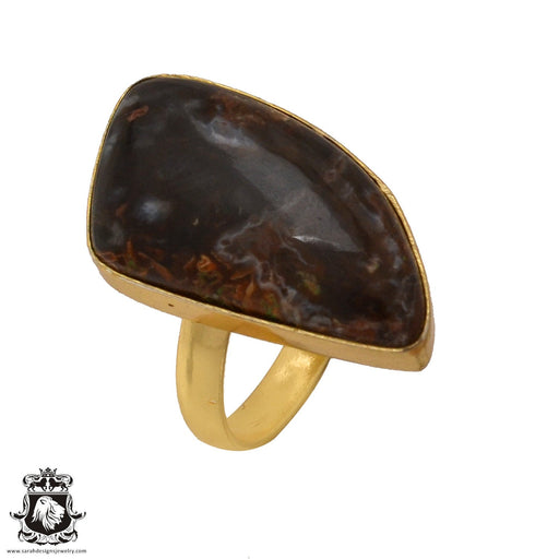 Size 9.5 - Size 11 Adjustable Stick Agate 24K Gold Plated Ring GPR580