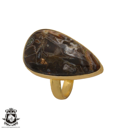 Size 6.5 - Size 8 Adjustable Stick Agate 24K Gold Plated Ring GPR582