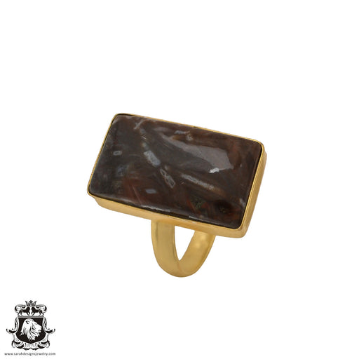 Size 10.5 - Size 12 Adjustable Stick Agate 24K Gold Plated Ring GPR586