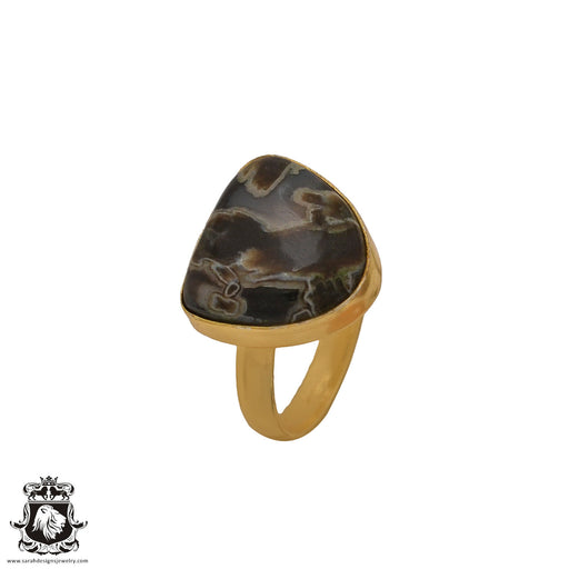 Size 9.5 - Size 11 Adjustable Stick Agate 24K Gold Plated Ring GPR588