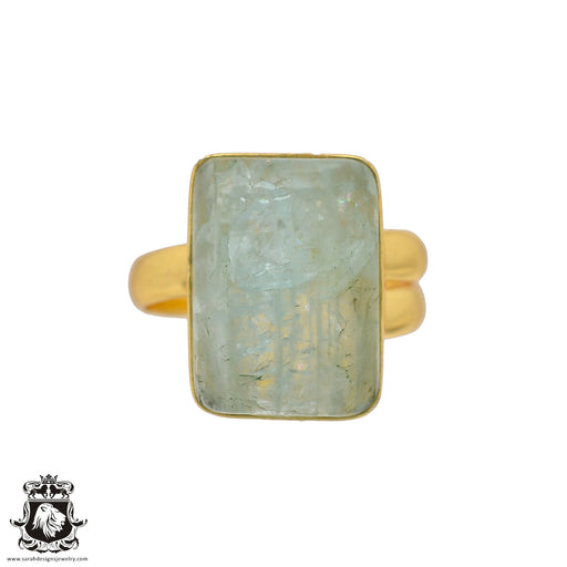 Size 10.5 - Size 12 Adjustable Aquamarine 24K Gold Plated Ring GPR634