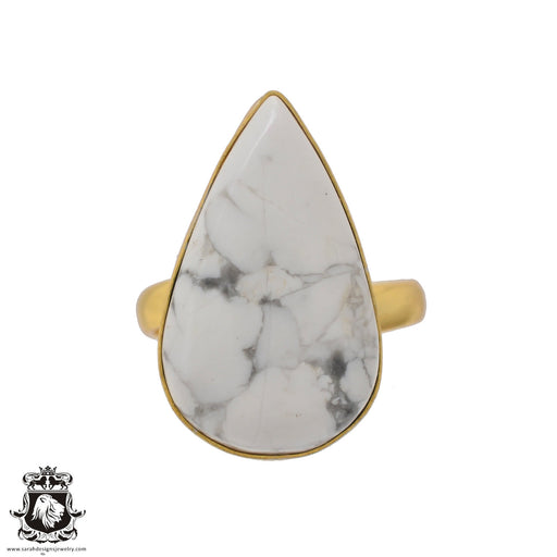 Size 10.5 - Size 12 Adjustable Howlite White Buffalo Turquoise 24K Gold Plated Ring GPR640