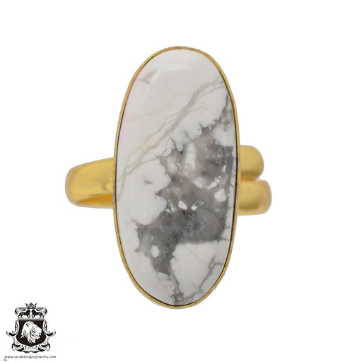 Size 10.5 - Size 12 Adjustable Howlite White Buffalo Turquoise 24K Gold Plated Ring GPR642