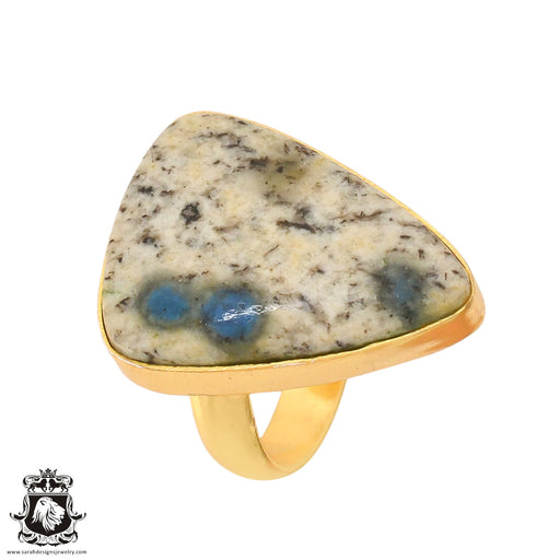 Size 7.5 - Size 9 Adjustable K2 Jasper Afghanite 24K Gold Plated Ring GPR759