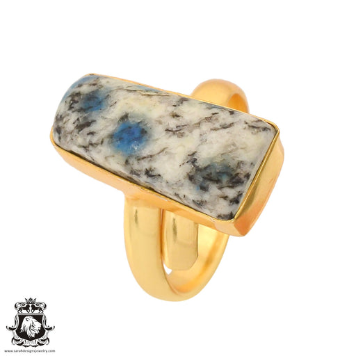 Size 9.5 - Size 11 Adjustable K2 Jasper Afghanite 24K Gold Plated Ring GPR761