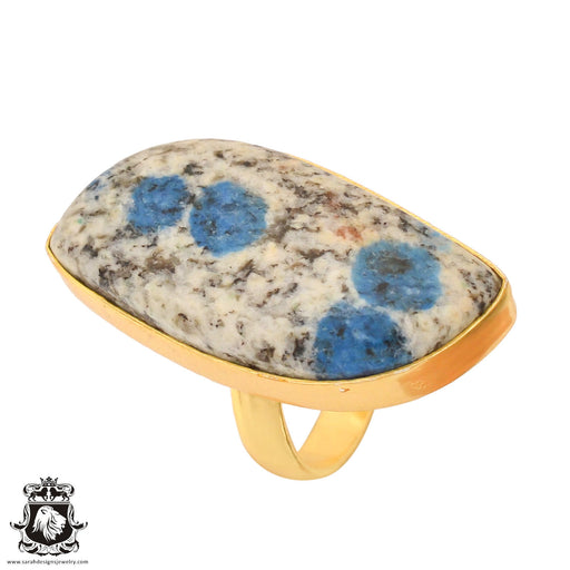 Size 6.5 - Size 8 Adjustable K2 Jasper Afghanite 24K Gold Plated Ring GPR762