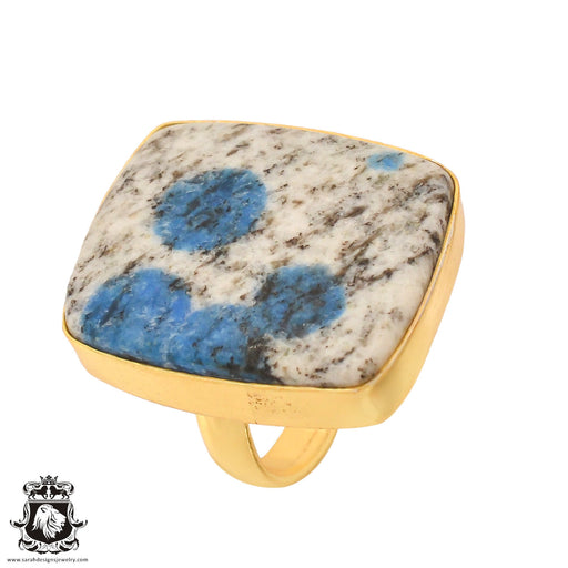 Size 6.5 - Size 8 Adjustable K2 Jasper Afghanite 24K Gold Plated Ring GPR764