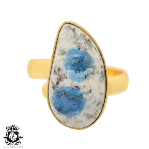 Size 9.5 - Size 11 Adjustable K2 Jasper Afghanite 24K Gold Plated Ring GPR765