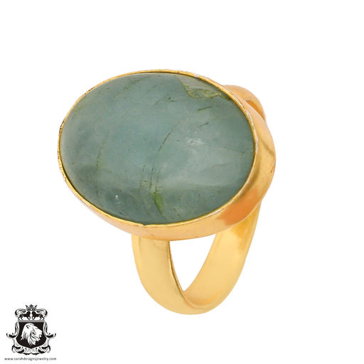 Size 8.5 - Size 10 Adjustable Aquamarine 24K Gold Plated Ring GPR780