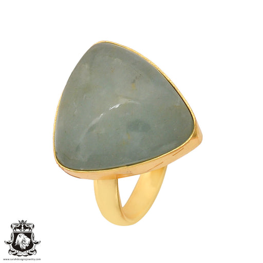 Size 8.5 - Size 10 Adjustable Aquamarine 24K Gold Plated Ring GPR781