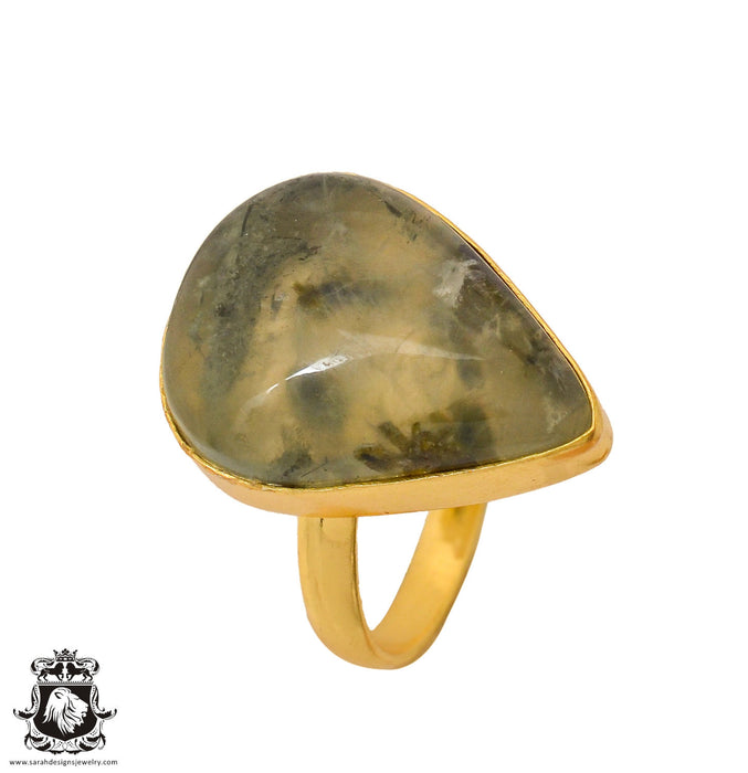Size 10.5 - Size 12 Adjustable Prehnite 24K Gold Plated Ring GPR800