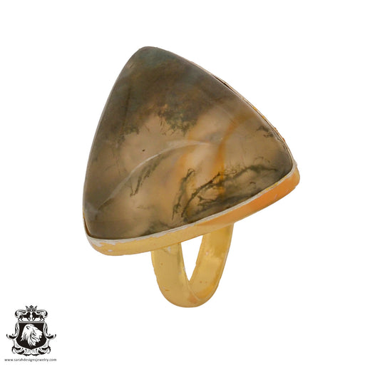 Size 10.5 - Size 12 Adjustable Prehnite 24K Gold Plated Ring GPR808