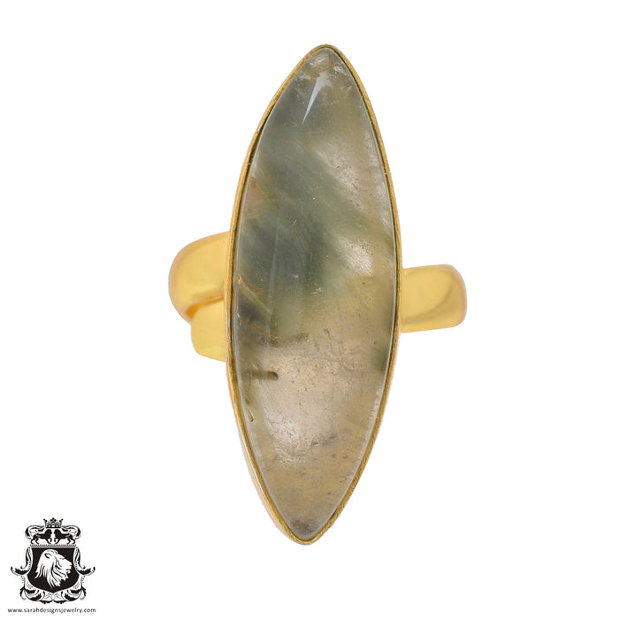 Size 7.5 - Size 9 Adjustable Prehnite 24K Gold Plated Ring GPR814