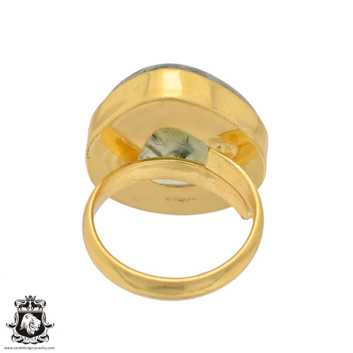 Size 7.5 - Size 9 Adjustable Prehnite 24K Gold Plated Ring GPR823