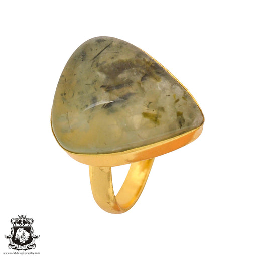 Size 10.5 - Size 12 Adjustable Prehnite 24K Gold Plated Ring GPR826