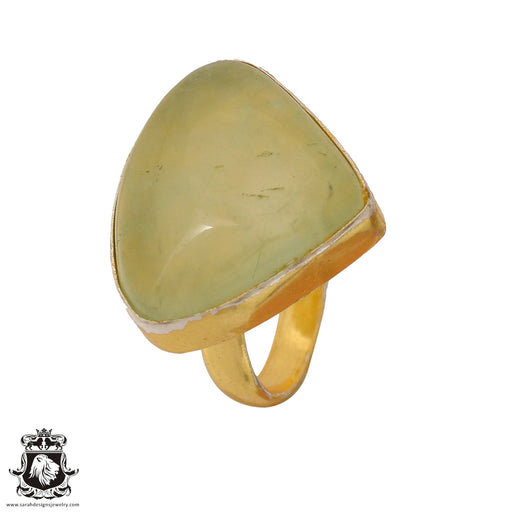 Size 6.5 - Size 8 Adjustable Prehnite 24K Gold Plated Ring GPR828