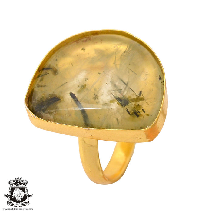 Size 9.5 - Size 11 Adjustable Prehnite 24K Gold Plated Ring GPR829