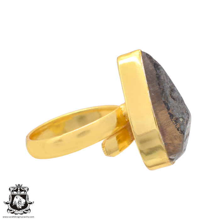 Size 7.5 - Size 9 Adjustable Lodolite Phantom Quartz 24K Gold Plated Ring GPR833