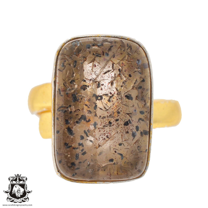 Size 8.5 - Size 10 Adjustable Lodolite Phantom Quartz 24K Gold Plated Ring GPR834