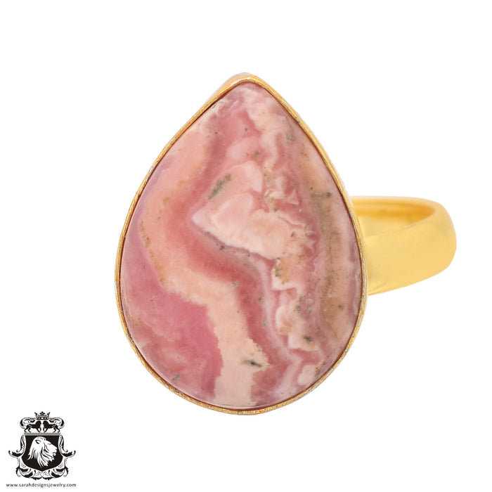 Size 8.5 - Size 10 Adjustable Rhodochrosite 24K Gold Plated Ring GPR836