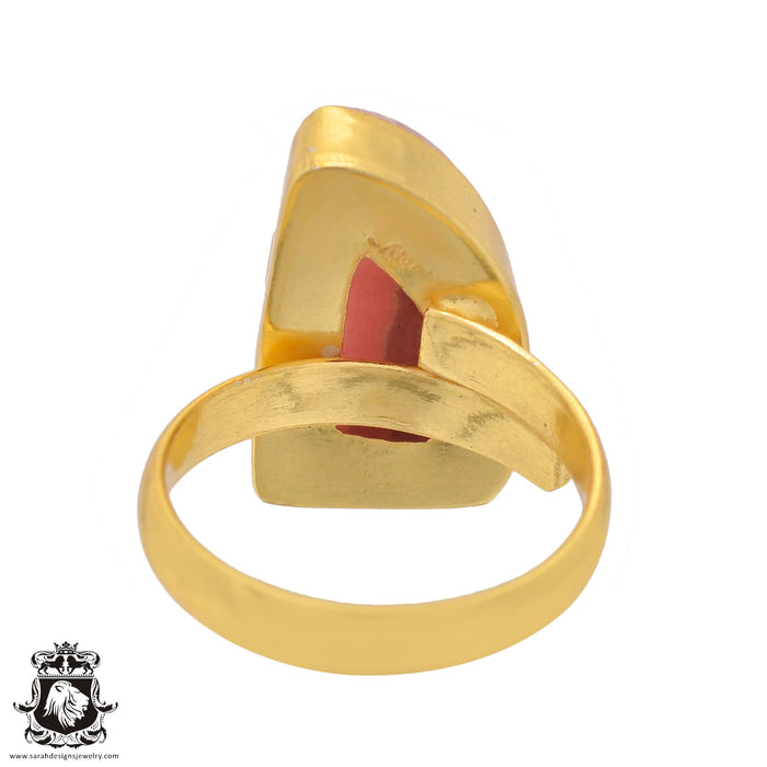 Size 8.5 - Size 10 Adjustable Rhodochrosite 24K Gold Plated Ring GPR840
