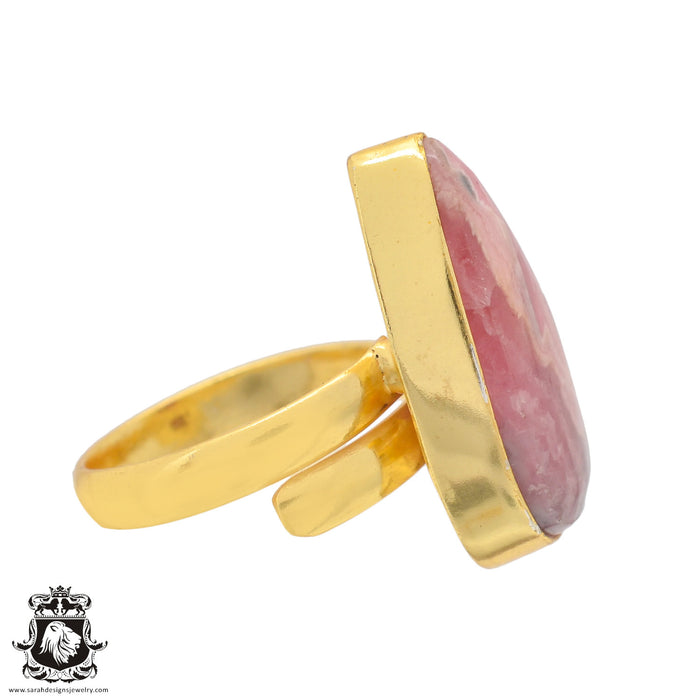 Size 8.5 - Size 10 Adjustable Rhodochrosite 24K Gold Plated Ring GPR841
