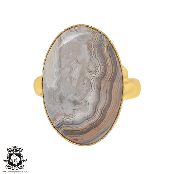 Size 10.5 - Size 12 Adjustable Crazy Lace Agate 24K Gold Plated Ring GPR853