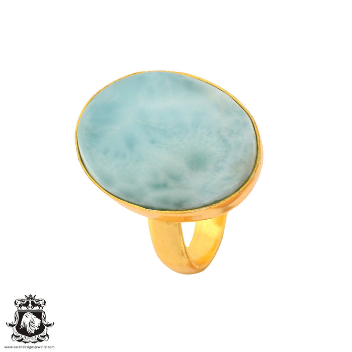 Size 8.5 - Size 10 Adjustable Larimar 24K Gold Plated Ring GPR877
