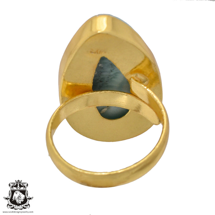 Size 9.5 - Size 11 Adjustable Larimar 24K Gold Plated Ring GPR883