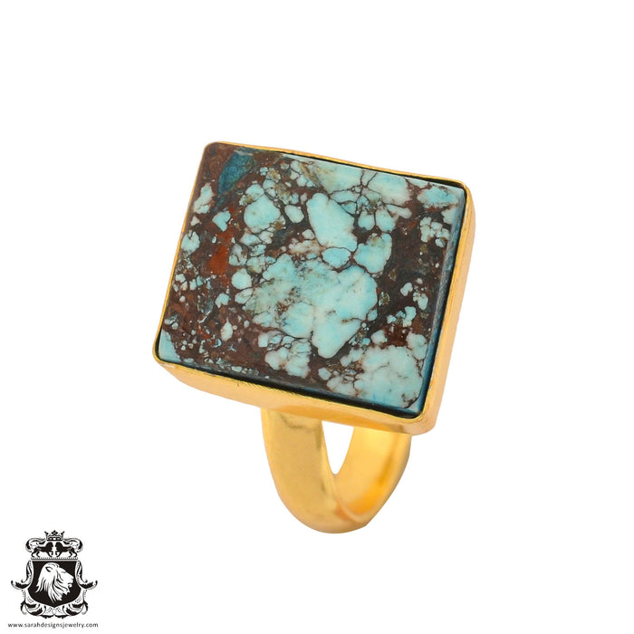 Size 9.5 - Size 11 Adjustable Number Eight Turquoise 24K Gold Plated Ring GPR888