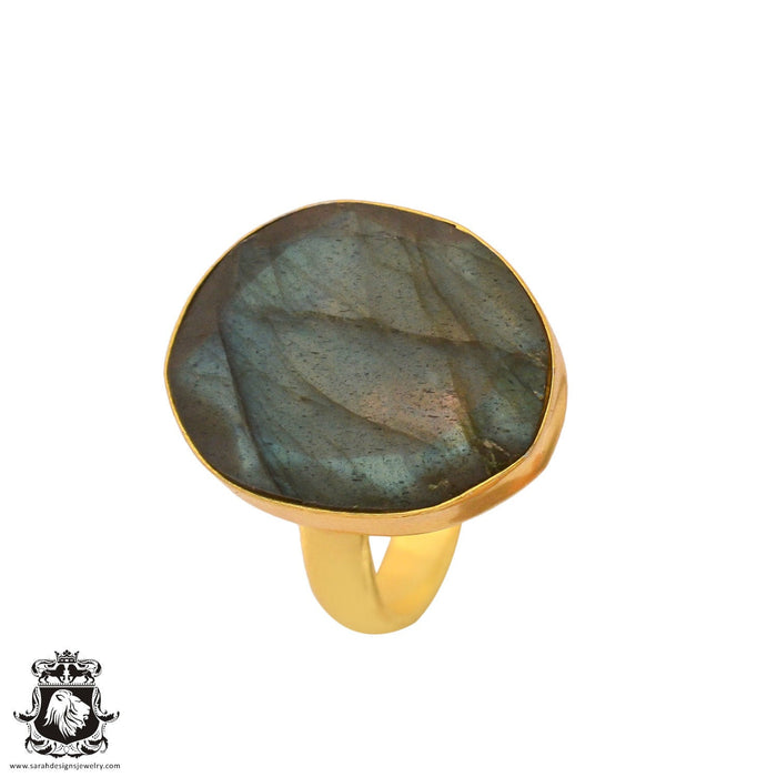 Size 9.5 - Size 11 Adjustable Canadian Labradorite 24K Gold Plated Ring GPR899