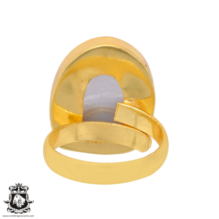 Size 9.5 - Size 11 Adjustable Blue Lace Agate 24K Gold Plated Ring GPR925