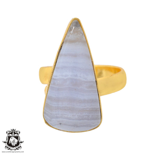 Size 7.5 - Size 9 Adjustable Blue Lace Agate 24K Gold Plated Ring GPR930