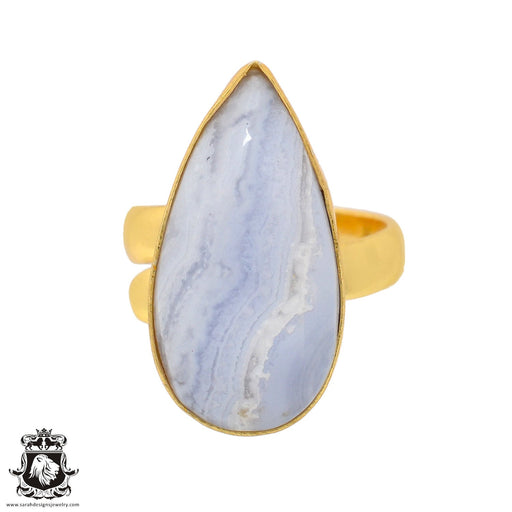 Size 7.5 - Size 9 Adjustable Blue Lace Agate 24K Gold Plated Ring GPR932