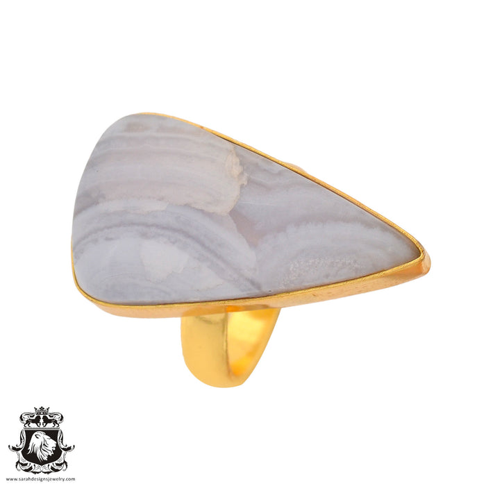 Size 7.5 - Size 9 Adjustable Blue Lace Agate 24K Gold Plated Ring GPR935