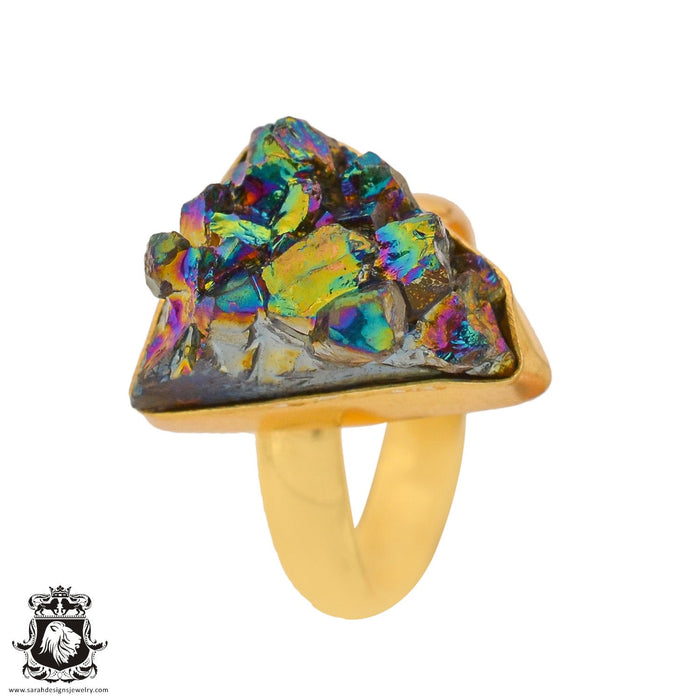Size 8.5 - Size 10 Adjustable Chalcopyrite Peacock Ore 24K Gold Plated Ring GPR936