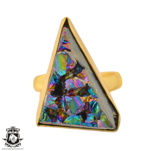 Size 6.5 - Size 8 Adjustable Chalcopyrite Peacock Ore 24K Gold Plated Ring GPR937