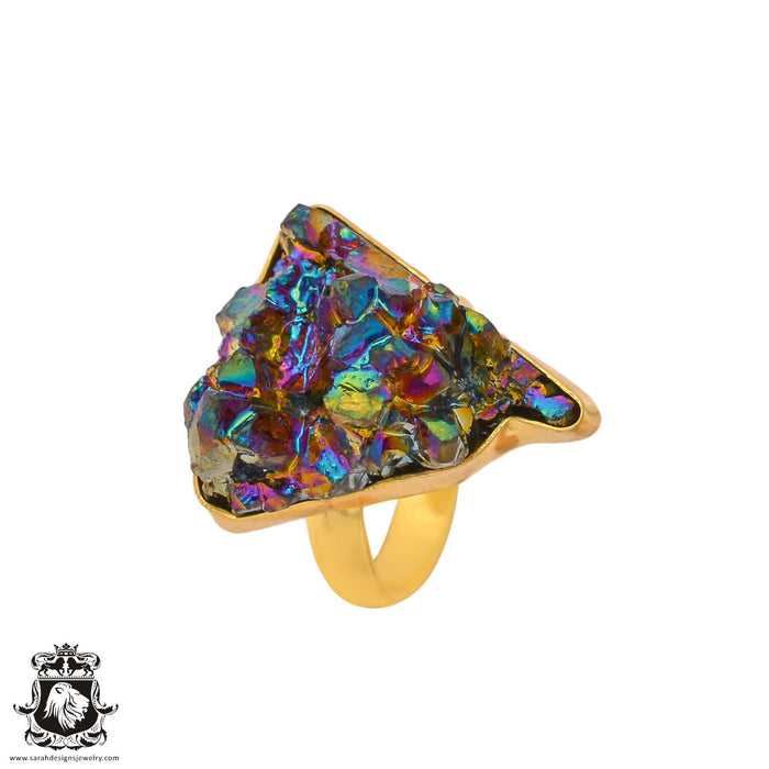 Size 9.5 - Size 11 Adjustable Chalcopyrite Peacock Ore 24K Gold Plated Ring GPR938