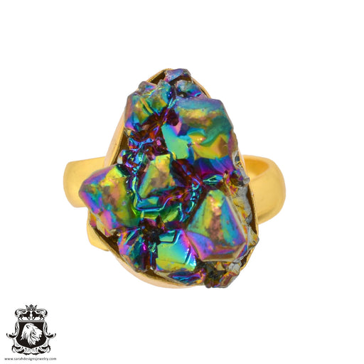 Size 8.5 - Size 10 Adjustable Chalcopyrite Peacock Ore 24K Gold Plated Ring GPR941