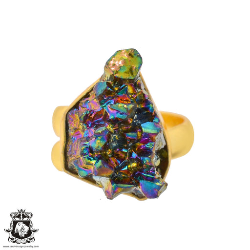 Size 6.5 - Size 8 Adjustable Chalcopyrite Peacock Ore 24K Gold Plated Ring GPR944