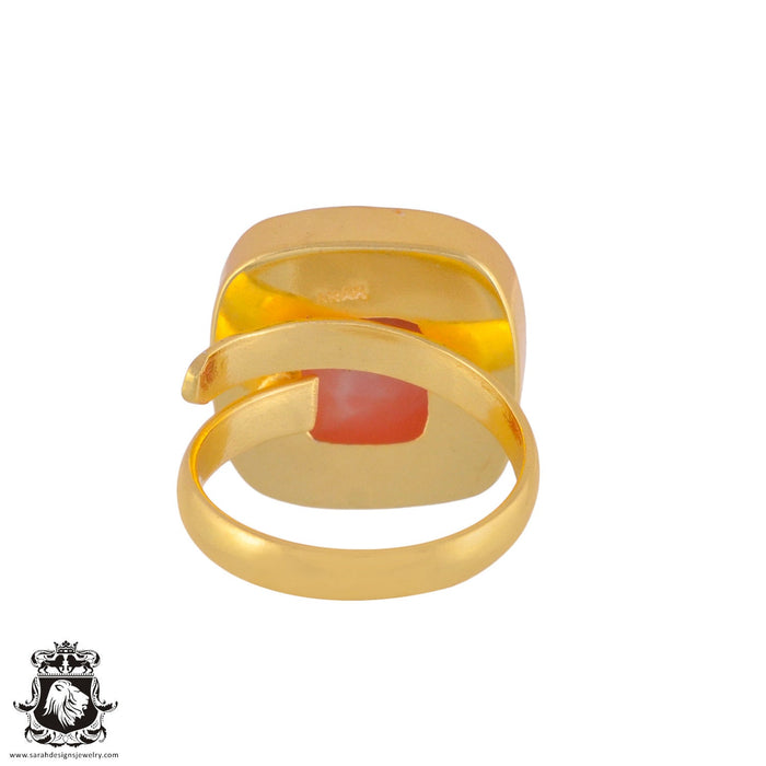 Size 9.5 - Size 11 Adjustable Peruvian Pink Opal 24K Gold Plated Ring GPR992