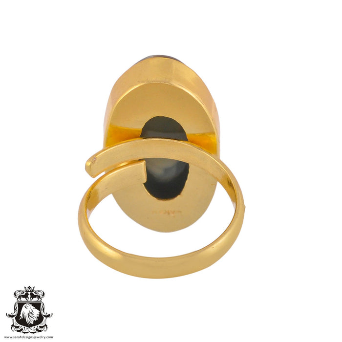 Size 8.5 - Size 10 Adjustable Imperial Jasper 24K Gold Plated Ring GPR1030