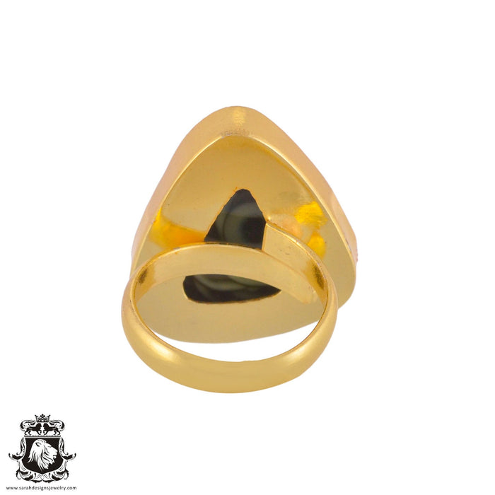Size 7.5 - Size 9 Adjustable Imperial Jasper 24K Gold Plated Ring GPR1033