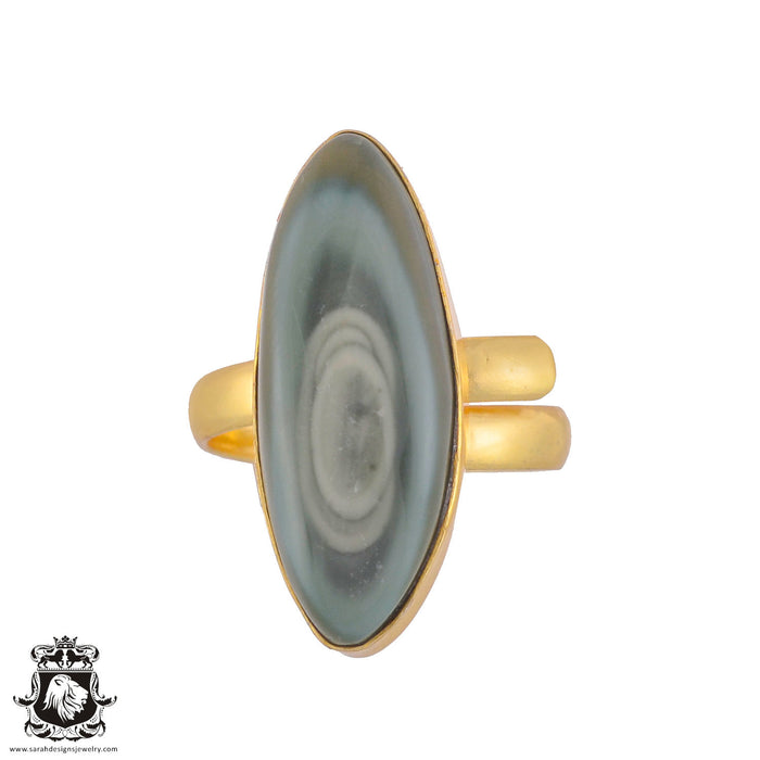 Size 9.5 - Size 11 Adjustable Imperial Jasper 24K Gold Plated Ring GPR1045