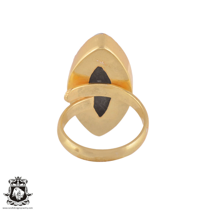 Size 6.5 - Size 8 Adjustable Stingray Coral 24K Gold Plated Ring GPR973