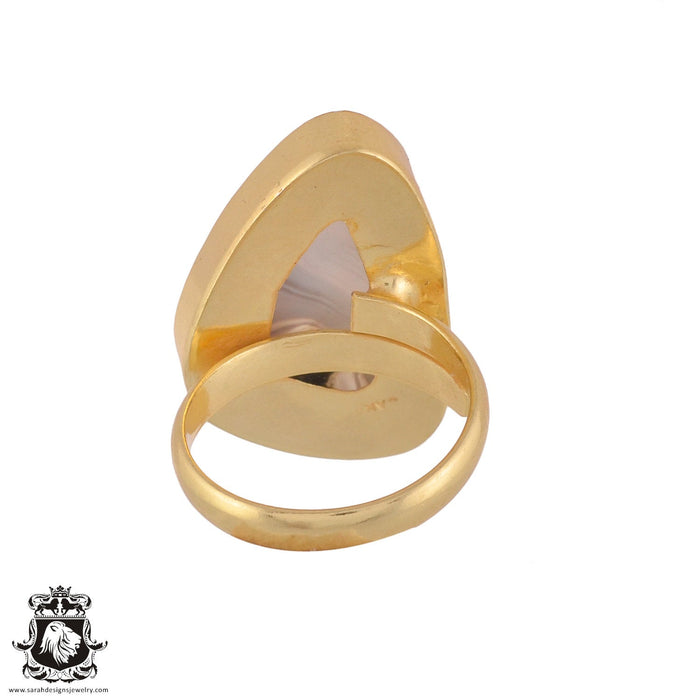 Size 9.5 - Size 11 Adjustable Banded Agate 24K Gold Plated Ring GPR977